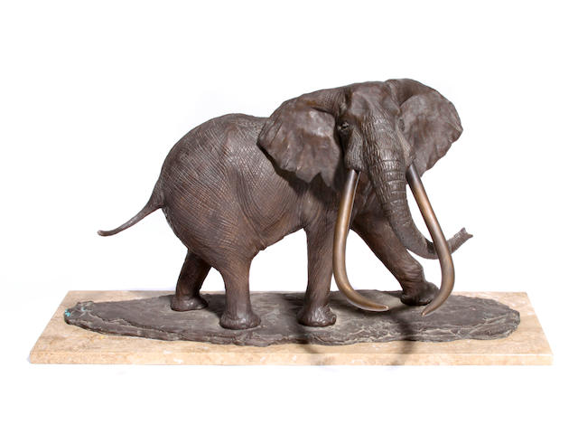 Robert Glen Elephant, (Ahmed 1971), signed, patinated bronze with dark brown patina on marble base, height 17in