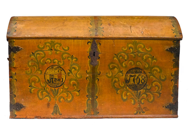 A Norwegian paint decorated trunk
