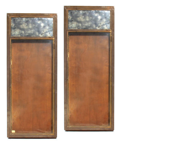 A pair of metal and mixed wood hanging display cabinets