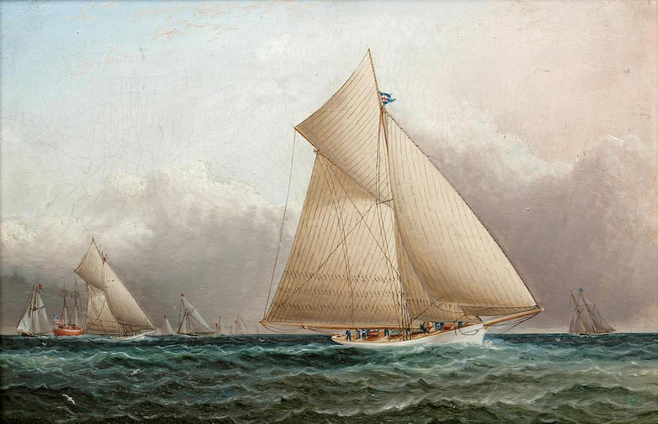 James Edward Buttersworth (British/American, 1817-1894) A yachting scene round the lightship with the Volunteer in the lead 8 x 12 in.