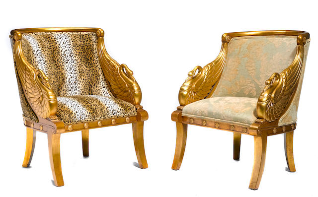 Four Empire style upholstered giltwood bergères