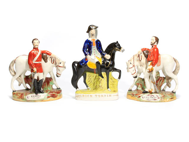 A pair of Staffordshire pottery figures of Girabaldi and Napier