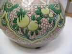 An underglaze blue and famille verte enameled porcelain garlic-headed vase 18th centuiry