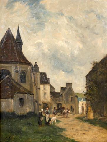 Stanislas Lépine (French, 1835-1892) Rue du village en Pays de Caux 24 x 18in (61 x 45.7cm)