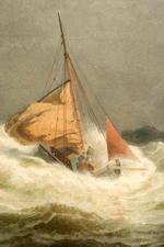 Hermann Mevius (German, 1820-1864) Ships in a coastal storm 14-1/2 x 23-1/2 in. (36.8 x 59.6 cm.)
