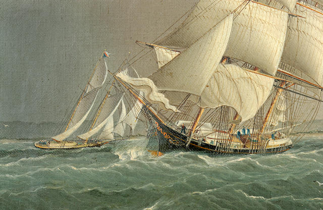 James Edward Buttersworth (British/American, 1817-1894) Shipping off Sandy Hook depicting the merchant brig XXXXX outward bound and passing the yachts XXXX and XXXX in a close race. 14 x 22 in. (35.5 x 55.8 cm.)
