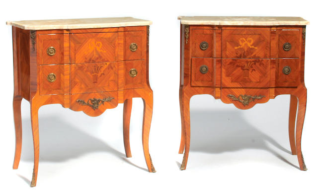 A pair of Louis XV/XVI Transitional style inlaid walnut petite commodes