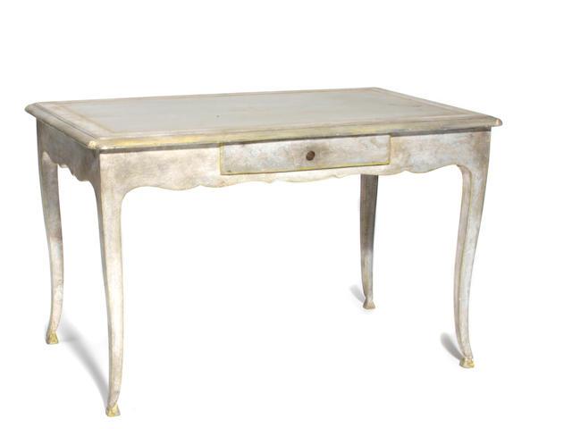 A Louis XV style grey painted bureau plat