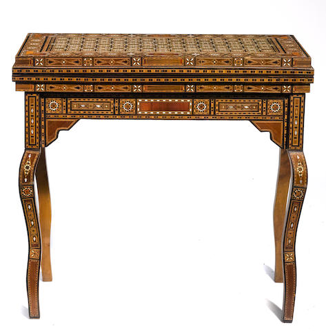 A Levantine mother of pearl and bone inlaid games table