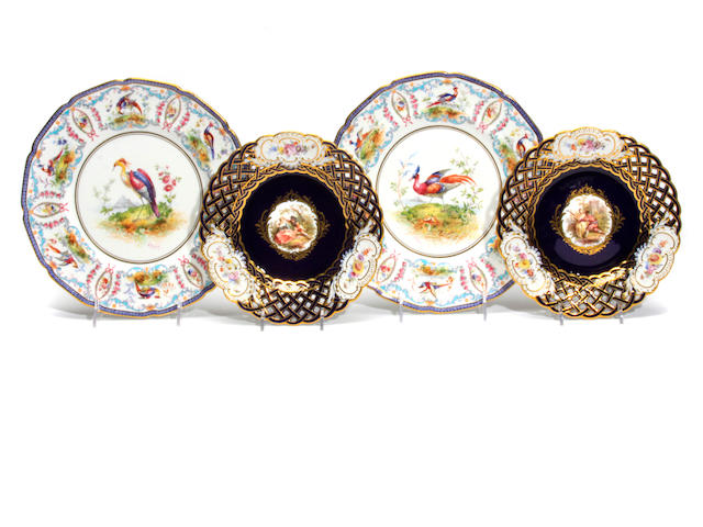 A set of six Meissen porcelain reticulated side plates