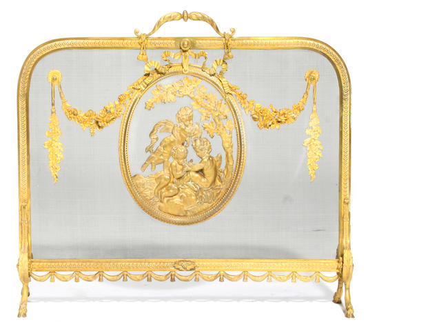 A French gilt bronze mounted firescreen