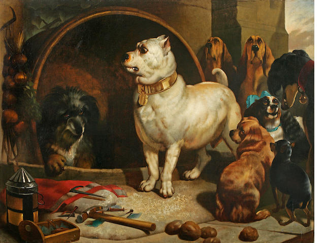 After Sir Edwin Henry Landseer, RA, (British, 1802-1873) Alexander and Diogenes 44 1/2 x 56 3/4 in. (113.0 x 144.2 cm.)