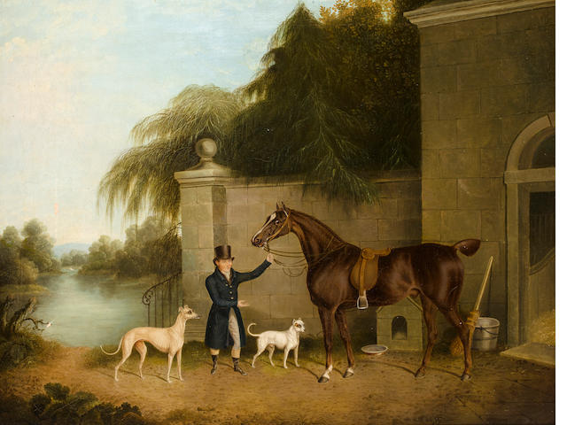 Riderless horse with two dogs, oil on canvas