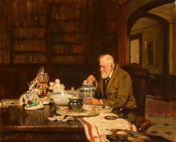 Man mending porcelain, oil on canvas