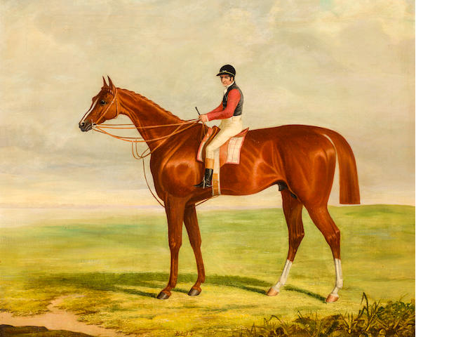 Sorrel and rider, oil on canvas, monogrammed ELJS