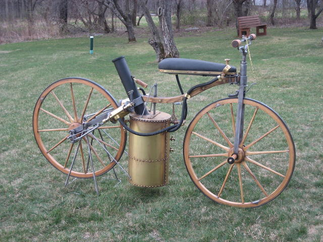 A fine, full size, static replica of an 1867-1869 Roper steam powered velocipede,