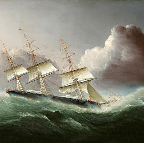 James Edward Buttersworth (British/American, 1817-1894), circa 1855 The clippership Flying Cloud coming out of a hurricane 20 x 30 in. (50.8 x 76.2 cm.)