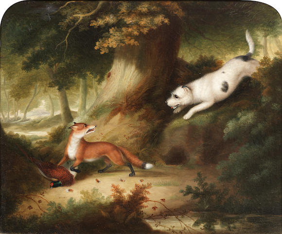 Follower of Samuel Raven (British, 1775-1847) A fox surprising pheasants; A terrier surprising a fox: Two each 20 x 24 in. (51 x 61 cm.)