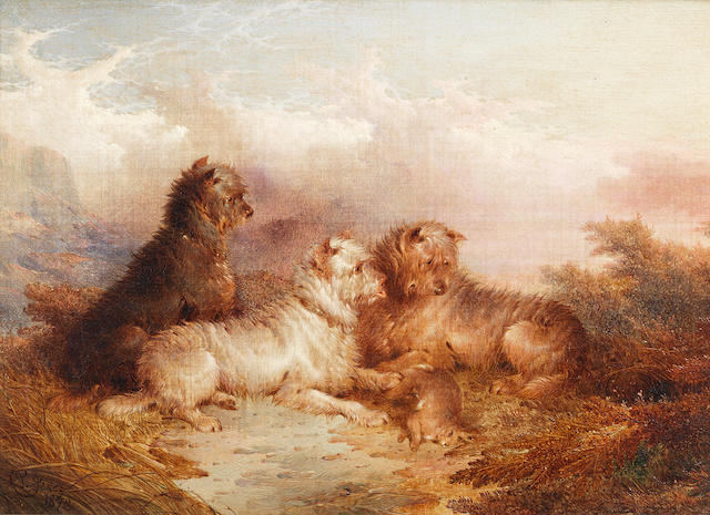 Paul Jones (British, fl. 1856-1879) Terriers with their catch 8 x 12 in. (20.5 x 30.5 cm.)