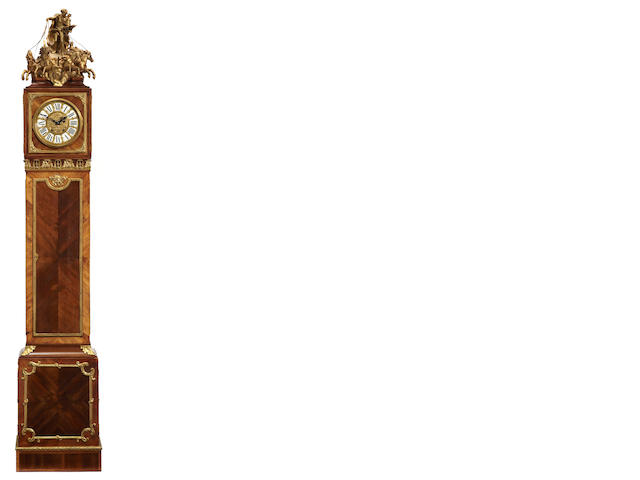 A Louis XVI style gilt bronze mounted walnut chariot régulateur <BR />in the manner of Roetgen<BR />fourth quarter 19th century