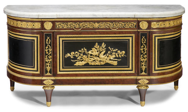 A fine Louis XVI style gilt bronze mounted lacquer and mahogany commode à encoignures <BR />after a model by J. H. Riesener<BR />fourth quarter 19th century