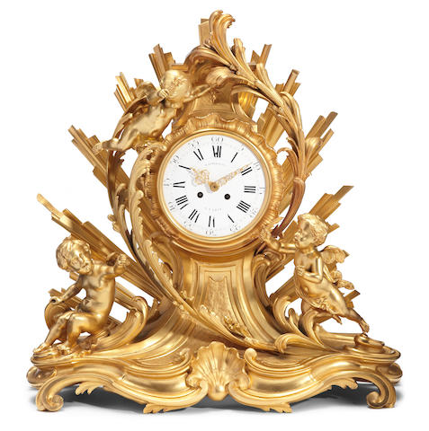 A Louis XV style gilt bronze figural mantel clock<BR />Henri Picard and Raingo Freres <BR />fourth quarter 19th century