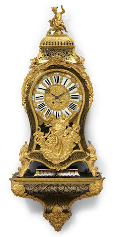 A Régence style gilt bronze mounted brass Boulle marquetry and ebonized bracket clock   second half 19th century