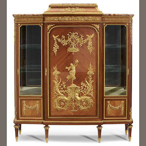 A Louis XIV style gilt bronze mounted triple vitrine cabinet   attributed to François Linke late 19th/early 20th century