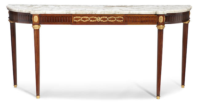 A Louis XVI style gilt bronze mounted mahogany console desserte  late 19th/early 20th century