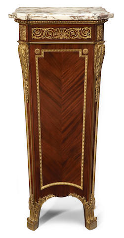 A Louis XVI style gilt bronze and marble mounted mahogany pedestal   top late 19th/early 20th century