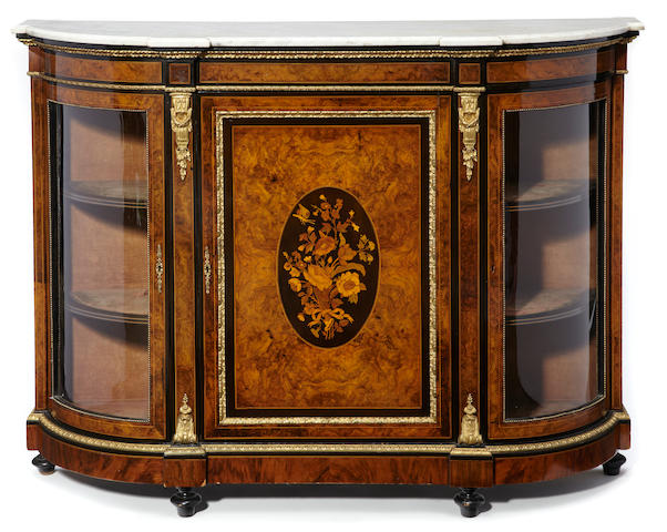 A Victorian gilt bronze mounted marquetry and parcel ebonized side cabinet   fourth quarter 19th century