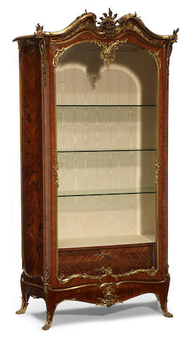 A fine Louis XV style gilt bronze mounted marquetry inlaid kingwood vitrine cabinet <BR />Emmanuelle Zwiener<BR />fourth quarter 19th century