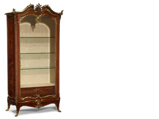 A fine Louis XV style gilt bronze mounted marquetry inlaid kingwood vitrine  Joseph Emmanuel Zwiener fourth quarter 19th century