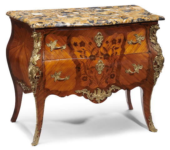 A Louis XV style gilt bronze mounted kingwood rosewood and marquetry commode <BR />fourth quarter 19th century