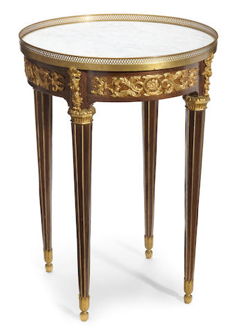 A Louis XVI style gilt bronze and marble mounted guèridon <BR />late 19th/early 20th century