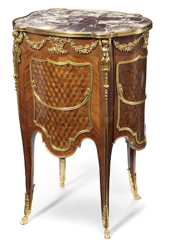 A Louis XV style gilt bronze mounted kingwood and mahogany cube parquetry table de chevet <BR />late 19th century