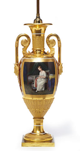 A Neoclassical Paris porcelain enamel and gilt decorated two handled urn, now as a lamp <BR />second quarter 19th century