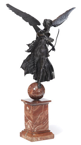 A French patinated bronze figure of a Winged Victory on rouge marble plinth <BR />fourth quarter 19th century