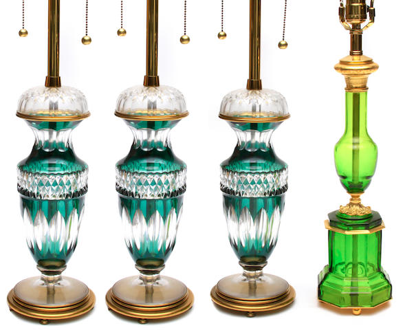 A set of three Continental green to clear flash glass table lamps