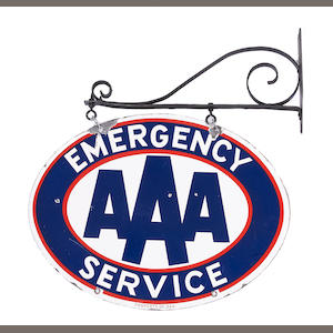 An Emergancy AAA sign, c.1950s,