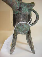 A ritual bronze wine vessel, jue Shang dynasty, Anyang III style