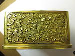 A rare gilt bronze box inset with a white jade plaque  Jiaqing mark, 19th century