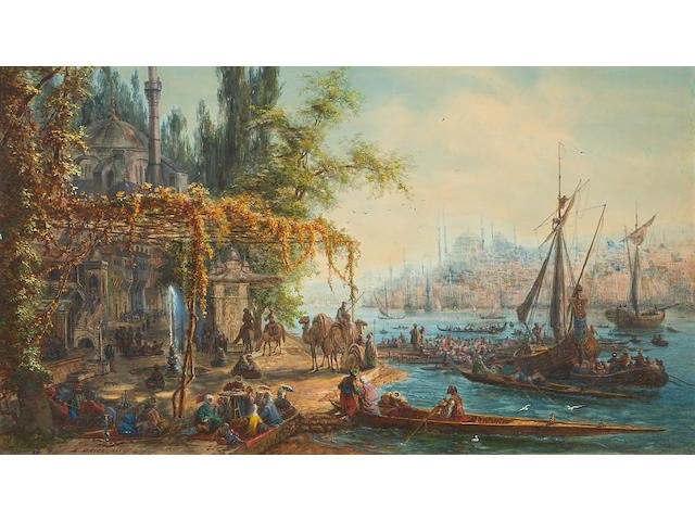Meyer, A View of Istanbul, watercolor sight, 12 1/2 x 19 1/2in