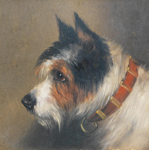 Edward Aistrop (British, 19th century) A black and tan Terrier; A black, white and tan Terrier: Two larger 9 1/2 x 8 in. (24 x 20.5 cm.)