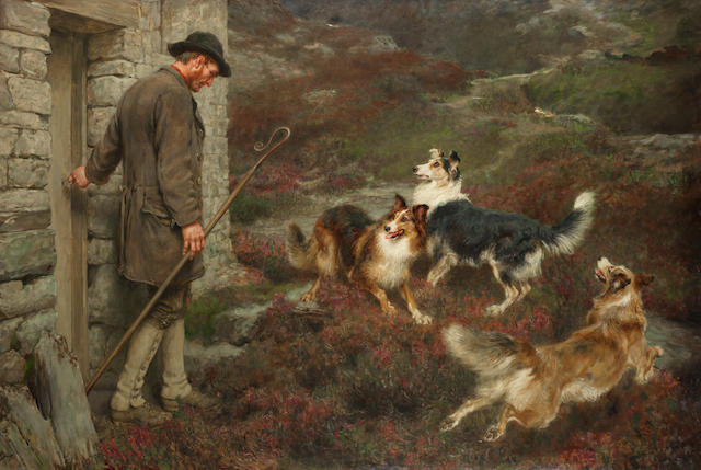Briton Riviere, RA (British, 1840-1920) To the hills 44 x 64 3/16 in. (112 x 163 cm.)