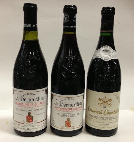 Châteauneuf-du-Pape, La Bernardine, Chapoutier 1990 (1)<BR />Châteauneuf-du-Pape, La Bernadine, Chapoutier 1998 (8)<BR />Châteauneuf-du-Pape, Vielles Vignes, Chambellan 1995 (2)