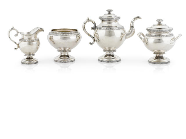 An American  coin silver  four piece tea service by Gerardus Boyce, New York, NY,  circa 1825