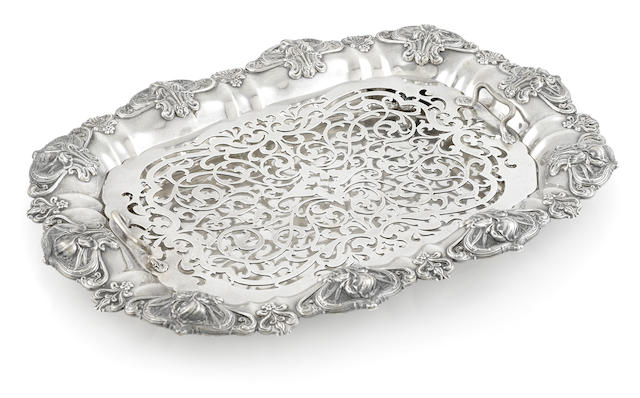 An American  sterling silver  Art Nouveau asparagus tray by Whiting Mfg. Co., Providence, RI,  early 20th century