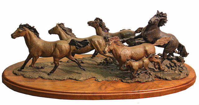 Douglas van Howd (American, born 1935) Running horses; Sable (group of two) first height with base: 15 1/2in; second height with base: 22 3/4in