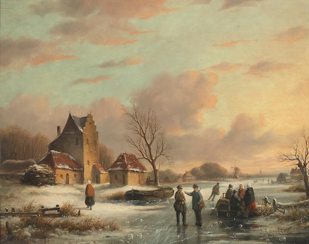 Studio of Jan Jacob Spohler (Dutch, 1811-1866) A winter landscape with skaters at sunset 14 1/4 x 18in